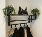 Kapstok wandkapstok industrieel zwart hangend metaal hout met hoedenplank en haken 66cm