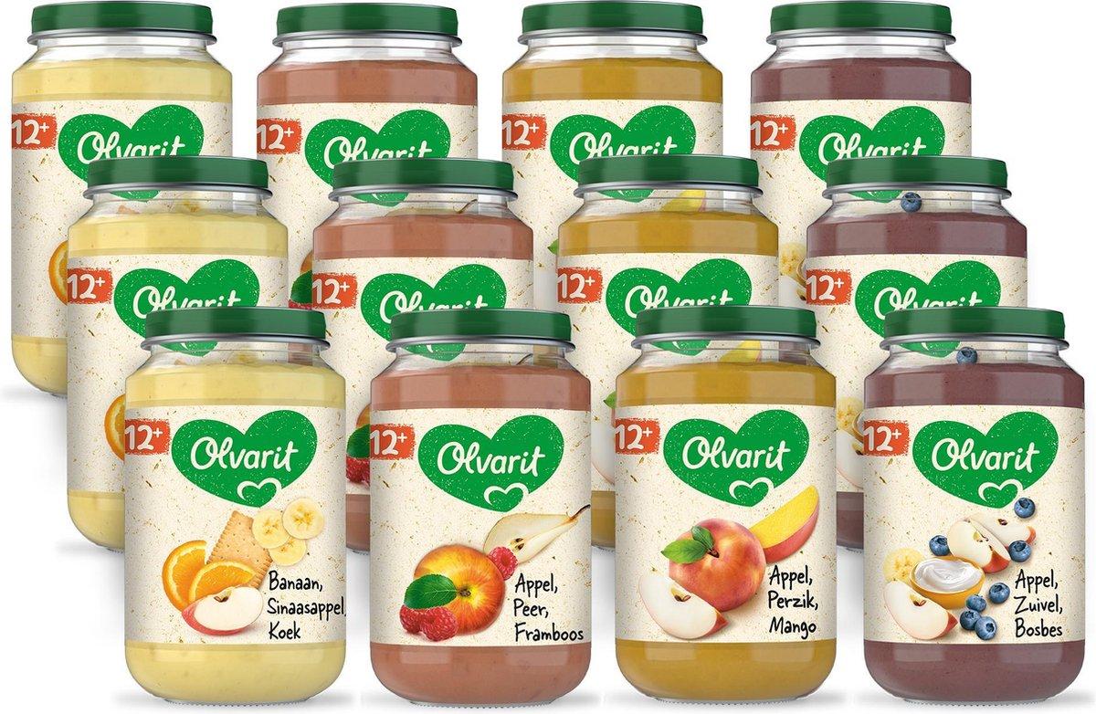 Olvarit Variatiemenu Fruit - fruithapje vanaf 12+ mnd - 4 smaken babyvoeding - 12 fruitpotjes - 200g