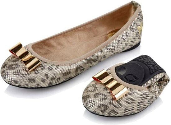 Sorprese – ballerina schoenen dames – Butterfly twists Chloe zilver luipaard – maat 38 – ballerina schoenen meisjes