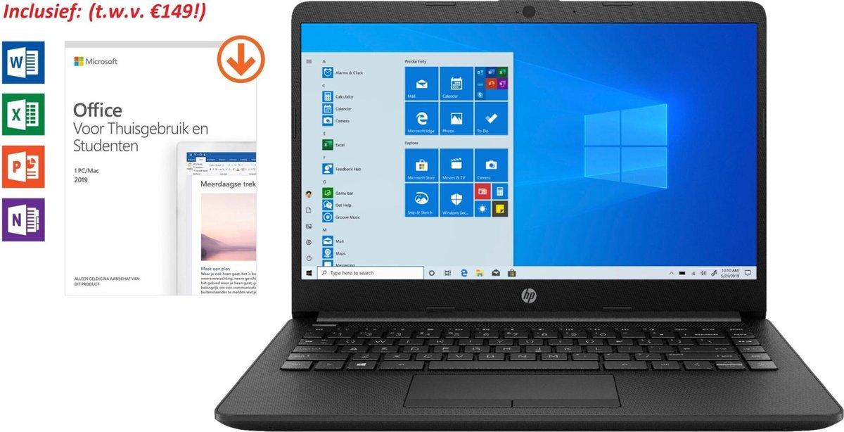 HP 14 inch Laptop - AMD Ryzen 3 - Zwart - 4GB RAM - 128GB SSD - Tijdelijk met GRATIS Office 2019 Home & Student t.w.v. €149 (verloopt niet, geen abonnement) & BullGuard Antivirus t.w.v €60! (1 jaar, 3 apparaten)