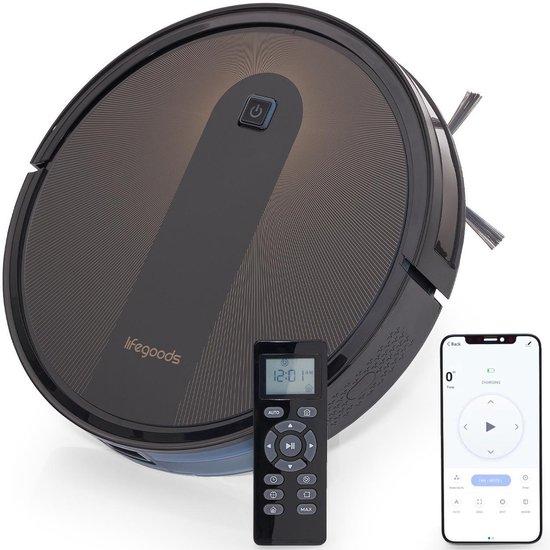 LifeGoods WiFi Robot Stofzuiger - 1400Pa - Dweilfunctie - Draadloos - Automatisch Laadstation - Stof tot Hondenhaar - Zwart met Oranje Accenten