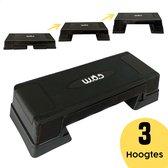 W.O.D Fitness Step Pro - Aerobic Step Bankje - Antislip Oppervlak - Verstelbaar In 3 Hoogtes - Zwart
