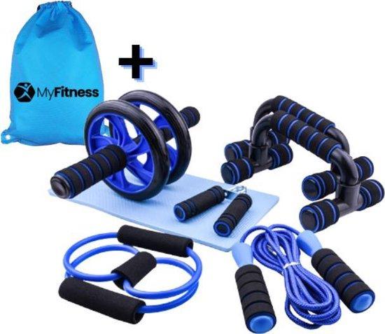Fitness set 6-in-1 inclusief opbergrugzak | Ab roller | Buikspiertrainer | Stretchband | Trainingswiel | Opdruksteunen | Push-up bars | Springtouw | Fitnessmat | Yogamat | Sportset | Thuis fitness