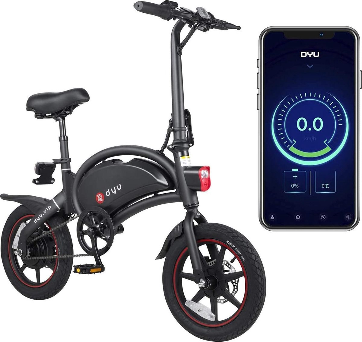 DYU - E-Bike D3+ - Elektrische fiets - Smart bike - met App - Opvouwbaar - 350W / 42V / 10Ah - 3 Ver
