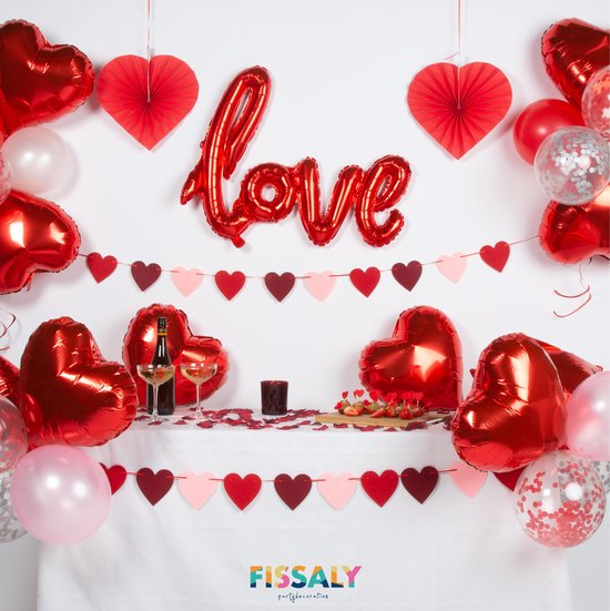 Bol Com Fissaly 89 Stuks Liefde Hartjes Decoratie Set Helium Papieren Confetti Ballonnen