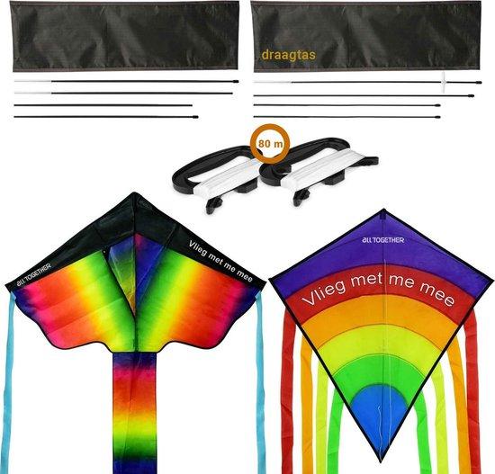 2x Regenboog vliegers met draagtas - Delta vlieger en Diamond vlieger- vliegers voor kinderen -Kite vlieger