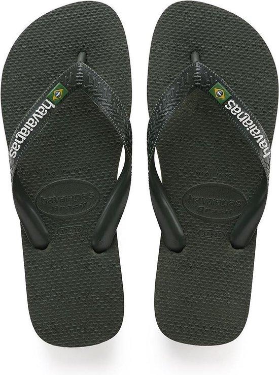 Havaianas Brasil Logo Unisex Slippers - Green Olive - Maat 31/32