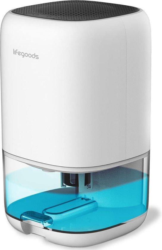 LifeGoods Luchtontvochtiger - Ontvochtigd 450ML Per Dag - 2-in-1 Luchtreiniger Dehumidifier - Slaapkamer / Badkamer / Huis - Coloured LED - Wit