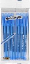 Balpen BIC Round Stic M blauw - 8 stuks - blauw