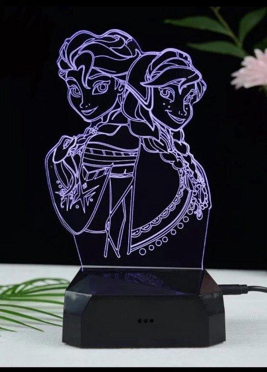 Frozen 3D lamp - Elsa Anna - Tafellamp - Nachtlamp - Lamp kinderkamer - Led