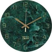 SensaHome Glazen Wandklok 30cm Diameter - Marble - Minimalistische Marmeren Design met Stille uurwerk - Groen