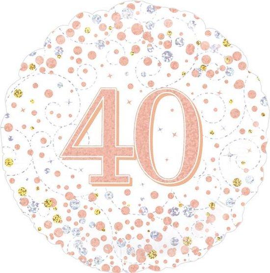 Folie Ballon 40 jaar Wit / Roze-goud holografische, 45 centimeter.