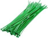 200x stuks kabelbinder / kabelbinders nylon groen 10 x 0,25 cm - bundelbanden - tiewraps / tie ribs / tie rips