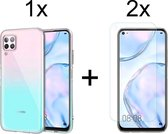 Huawei P40 Lite Hoesje Transparant - Siliconen Case - 2x Huawei P40 Lite Screenprotector