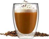 GLAEZ® Dubbelwandige Glazen -  Latte Macchiato Koffieglazen - Cappuccino Koffieglazen Koffiekopjes - Thermoglazen -  Theeglazen - Koffieglas Handgeblazen - Dubbelwandig koffieglazen  - 350 ml