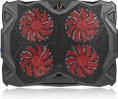 Fuegobird Laptop Cooler - Laptophouder en koeler - 4 ventilatoren - Rood verlichting - Max 17 inch - Zwart