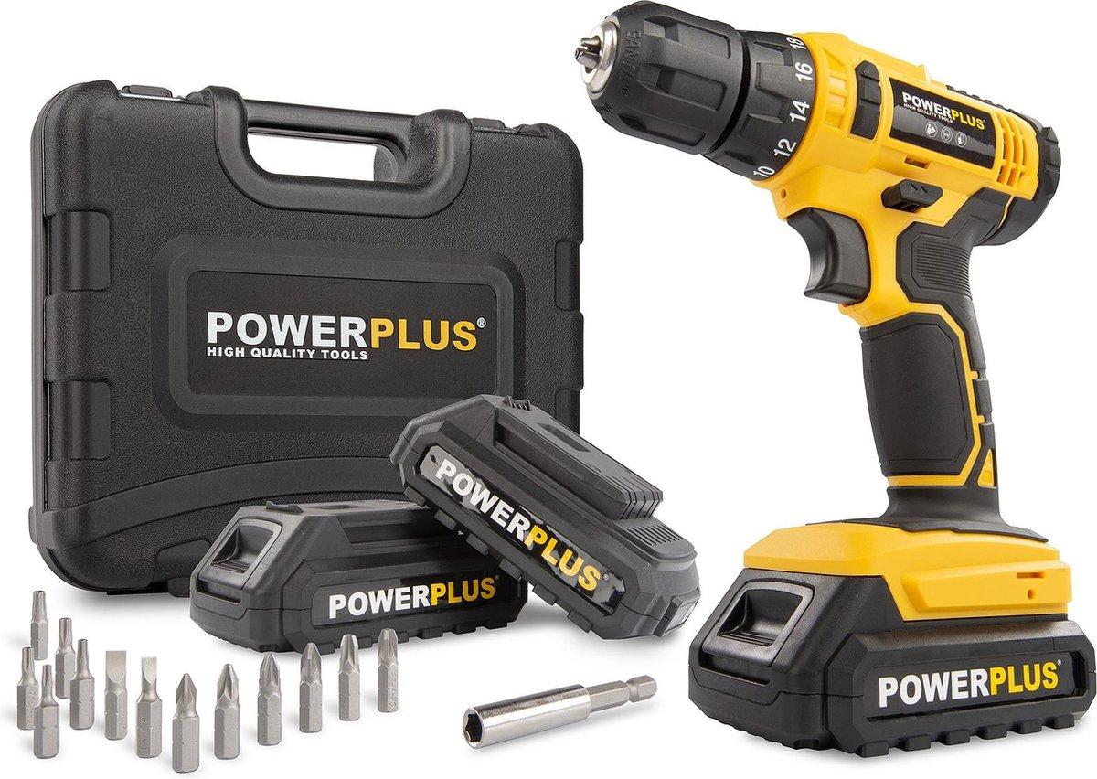 Powerplus POWX00500 Accuboormachine - Met 3 x 20V Li-ion accu's - Incl. 12 delige gereedschapskoffer