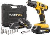 Powerplus POWX00500 Accuboormachine - 20V Li-ion - incl. 3 accu's - incl. 12 delige gereedschapskoffer
