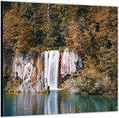 Dibond –Watervallen aan het Water – 80x80 Foto op Aluminium (Wanddecoratie van metaal)