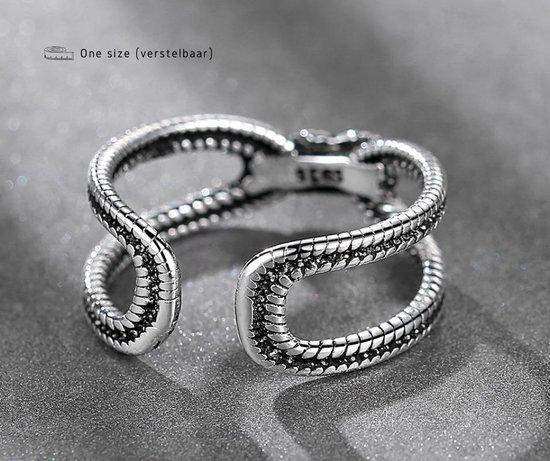 ring dames zilver Twist - One-size - Verstelbaar - Buddha ring - Cadeau voor vrouw verjaardag