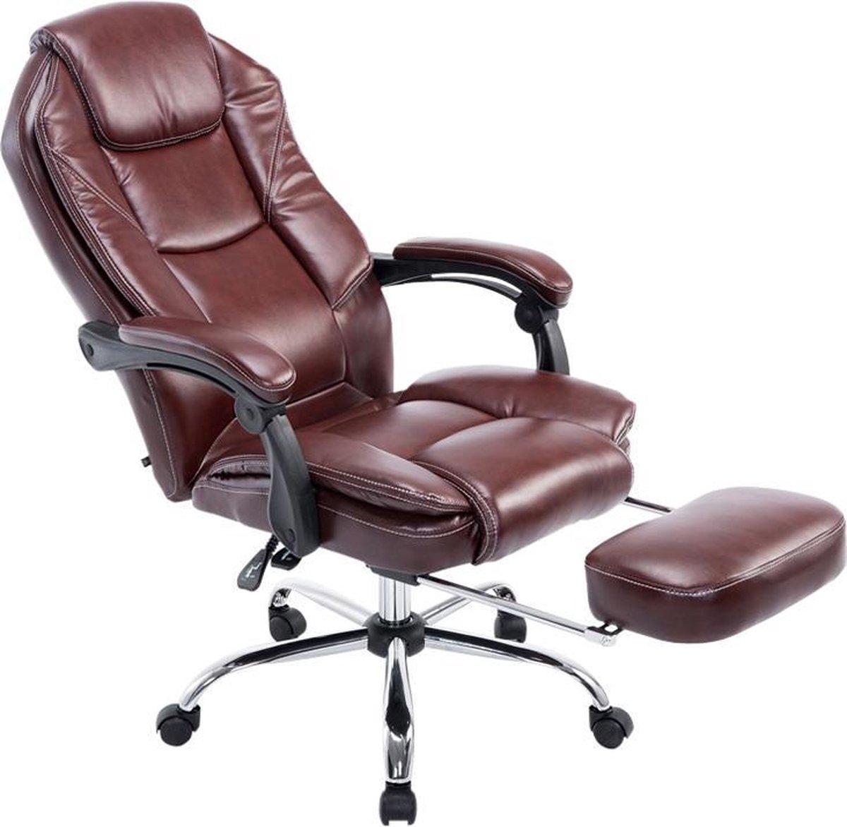 Bureaustoel - Ergonomische bureaustoel - Voetensteun - Kunstleer - Bordeaux - 64x67x114 cm
