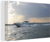 Speedboot op het water canvas 30x20 cm - klein - Foto print op Canvas schilderij (Wanddecoratie woonkamer / slaapkamer)