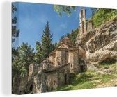 Oude gebouwen uit het Byzantijnse Rijk zijn vroeger gebouwd aan een rots canvas 140x90 cm - Foto print op Canvas schilderij (Wanddecoratie woonkamer / slaapkamer)