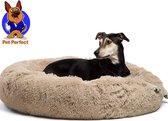 Donut Hondenmand  - Zacht Pluche Hondenmanden - 80 x 80cm - Antislip - Kattenmand - Creme/Bruin