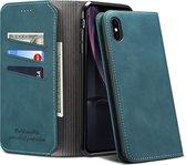 PU + TPU horizontale flip lederen tas met houder en kaartsleuven en portemonnee voor iPhone X / XS (groen)