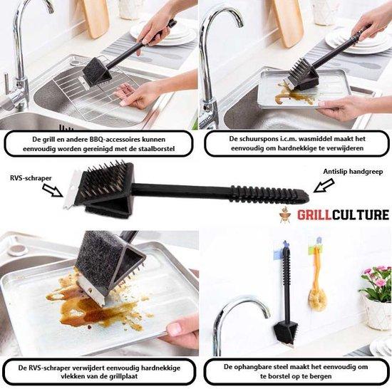 GrillCulture®- BBQ reinigings borstel - Metaal/Plastic - Zwart