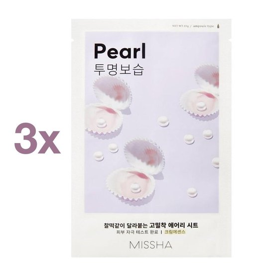 3 x Missha Pearl Airy Fit Face Sheet Mask - Korean Skincare - K-Beauty - Parel Zachte Huid - Super Soft Skin