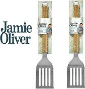 BBQ  spatel - Jamie Oliver - Acacia hout - RVS - Barbecue Spatel - 2 Stuks