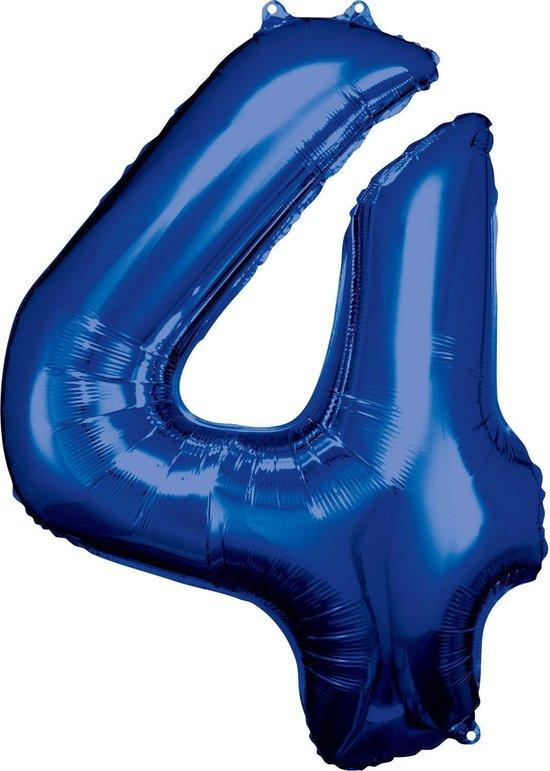 Amscan Folieballon 66 X 88 Cm Nummer 4 Blauw