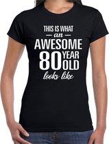 Awesome 80 year - geweldig 80 jaar cadeau t-shirt zwart dames -  Verjaardag cadeau L