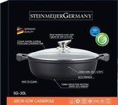 SteinMeijerGermany Marble Coating Wide Braadpan -Ø 34 cm 10 Liter-Zwart - Met glazen afdekplaat-hapjespan-brede pan- inductie pan