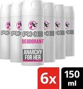 Axe Anarchy Bodyspray Deodorant - 6 x 150 ml - Voordeelverpakking