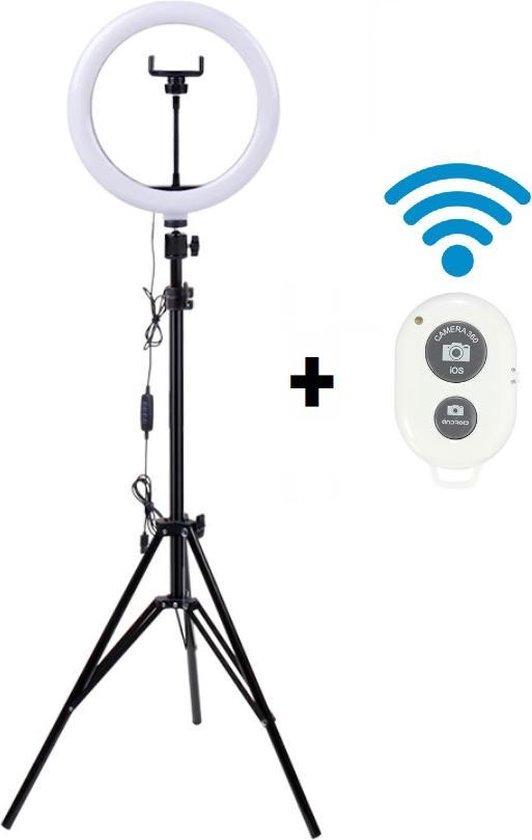 A SUNNY DAY LED Ringlamp met statief (verstelbaar) incl telefoonhouder en bluetooth afstandsbediening - 26 cm/10 inch - 2M hoog - USB - TikTok - Ringlight - flitser - Ring lamp - Vlog - Make-up light - Studiolamp