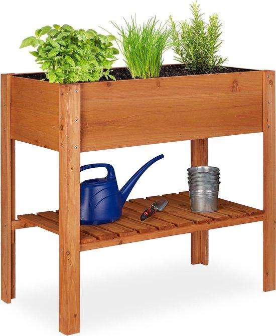 relaxdays Moestuintafel hout - op poten - kweektafel - minigarden voor planten en kruiden