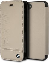 BMW Logo Imprint Bookcase Hoesje iPhone 8 / 7 / SE (2020) / 6S / 6 - Taupe