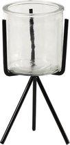 TQ4U Lennox gezellig windlichtje driepoot 10 x 17cm / glas 8 x Ø 8cm   Vintage look   ZWART