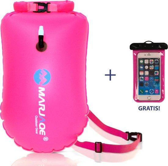 Zwemboei voor Veilig Openwater en Triatlon Zwemmen |Zwem Boei| - incl. drybag /Saferswimmer/Safe swimmer/ 20 Liter + Waterdichte smartphone hoes - MARJAQE®