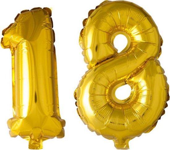 Folieballon nr. 18 Goud 41cm