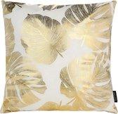 Gold Monstera Kussenhoes   Katoen / Polyester   45 x 45 cm