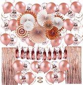 Fissaly® 80 stuks Rose Goud XL Decoratie Feestpakket 2021 – Ballonnen & Slingers – Feest – Trouwen