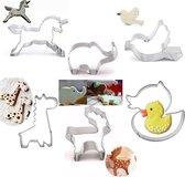 6 Dieren uitsteekvormen met Eenhoorn, Olifant, Vogel, Giraffe, Eend, Hert - Bak koekjes voor kinderen