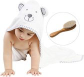 Badcape baby - Baby badjas - Baby handdoek - Baby badcape - Omslagdoek baby - Badhanddoek - Kraamcadeau jongen - GRATIS BABY HAARBORSTEL