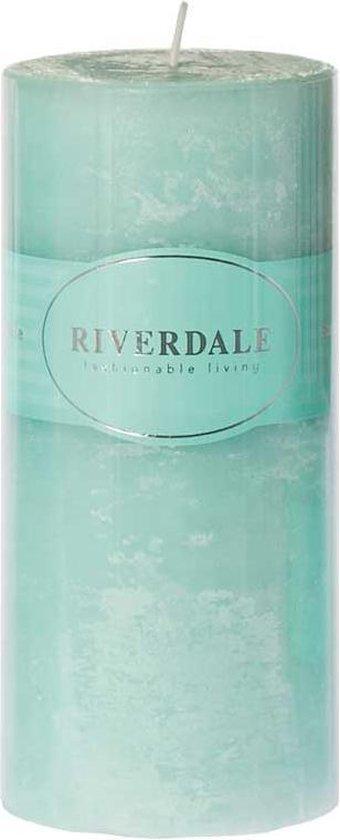 Riverdale Pillar – Kaars – 7.5x15cm – licht groen / Sea minerals