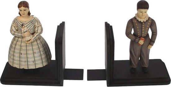 Boekensteun - set van 2, jongen en meisje , gekleed in Victoriaanse stijl