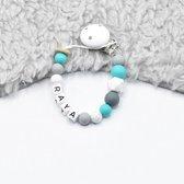 TippieToe - Speenkoord met Naam Hexagon Turquoise - voor jongen of meisje - wit, turquoise, gritty, donkergrijs en lichtgrijs