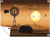 Een illustratie van een boerderij en een windmolen in de schemering tuinposter 80x60 cm - Tuindoek / Buitencanvas / Schilderijen voor buiten (tuin decoratie)